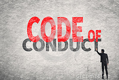code-conduct-asian-business-man-write-words-wall-48772242